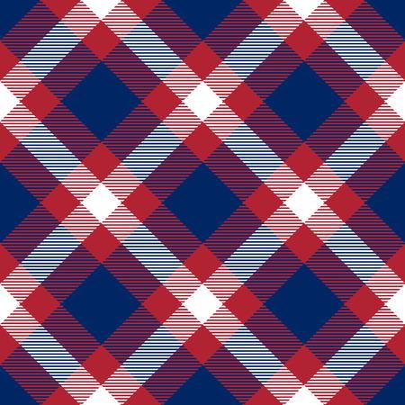 Tartán patriótico de patrones inconsútiles blancos, azules, rojos. Apto para elecciones o 4 de julio. La textura sin fin del vector se puede utilizar para papel tapiz, fondo, rellenos de patrón, página web, superficie. Ilustración de vector