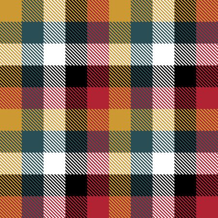 Tartan Plaid Scottish Seamless Pattern Background. Red, Black, Green, Yellow  and  White  Color  Wrap.  Flannel Shirt Patterns. Trendy Tiles Vector Illustration for Wallpapers