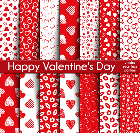 Fourteen Valentines Day Seamless Vector Patterns.  イラスト・ベクター素材