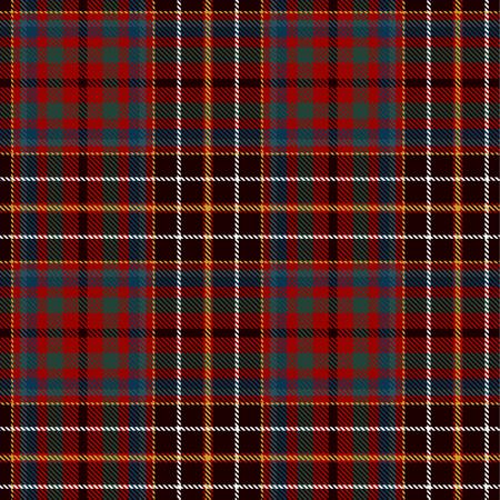 Tela escocesa de tartán sin fisuras de fondo escocés. Envoltura de color negro, rojo, verde, azul, dorado y blanco. Patrones de camisa de franela. Ilustración de vector de azulejos de moda para fondos de pantalla.