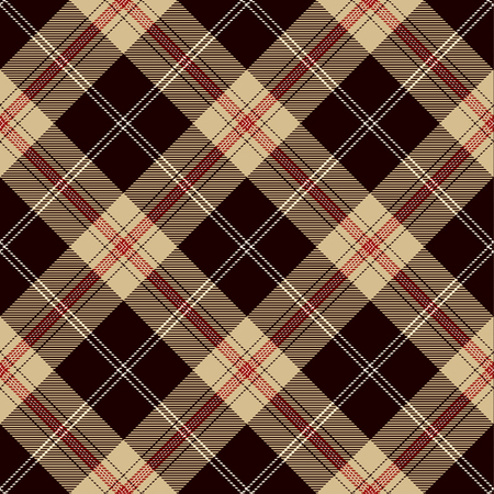 Tartan Plaid Scottish Seamless Pattern Background. Black, Red, Camel Beige  and  White Color  Wrap. Flannel Shirt Patterns. Trendy Tiles Vector Illustration for Wallpapers.  イラスト・ベクター素材