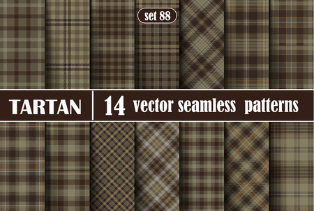Set Tartan Plaid Scottish Seamless Pattern Background. Beige, Brown, Orange and  Gray  Color  Wrap. Flannel Shirt Patterns. Trendy Tiles Vector Illustration for Wallpapers.