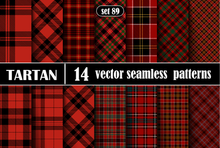 Set Tartan Plaid Scottish Seamless Pattern Background. Black, Red, Green and  White  Color  Wrap. Flannel Shirt Patterns. Trendy Tiles Vector Illustration for Wallpapers.