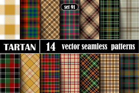 Set Tartan Seamless Pattern. Trendy Illustration for Wallpapers. Tartan Plaid Inspired Background. Suits for Decorative Paper, Fashion Design and House Interior Design, as Well as for Hand Crafts and DIY Ilustração