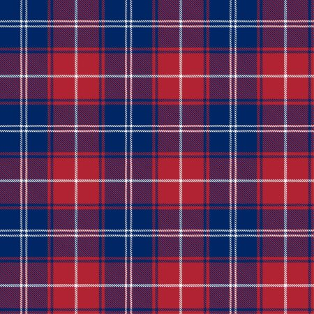 Patriotic Tartan  of White, Blue, Red Seamless Patterns. Suitable for Elections or 4th of July. Vector Endless Texture Can Be Used for Wallpaper, Background, Pattern Fills, Web Page, Surface.