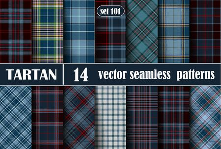 Set Tartan Seamless Pattern. Illustration for Wallpapers. Tartan Plaid Inspired Background. Suits for Decorative Paper, Fashion Design and House Interior Design, as Well as for Hand Crafts and DIY