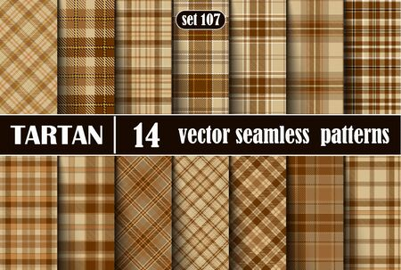 Set Beige Tartan Seamless Pattern.  Illustration for Wallpapers. Tartan Plaid Inspired Background. Suits for Decorative Paper, Fashion Design and House Interior Design, as Well as for Hand Crafts and DIY