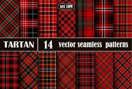 Set Red Tartan Seamless Pattern. Illustration for Wallpapers. Tartan Plaid Inspired Background. Suits for Decorative Paper, Fashion Design and House Interior Design, as Well as for Hand Crafts and DIY