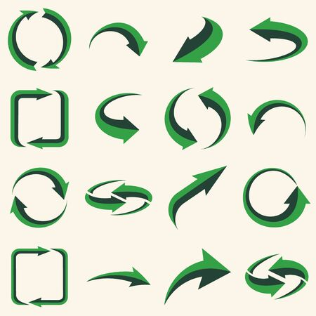 Arrows set - ecology icons collection. Illustration of reuse and recycling, recycle arrow. Vector ecology icons set.