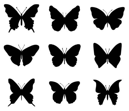 Butterflies silhouettes set. Spring butterfly silhouette collection isolated on white background Archivio Fotografico - 138450180