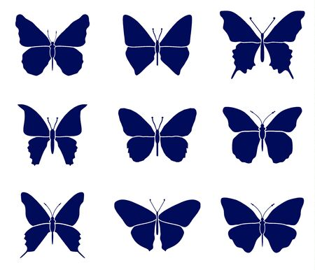 Butterflies silhouettes set. Spring butterfly silhouette collection isolated on white background Archivio Fotografico - 138450009