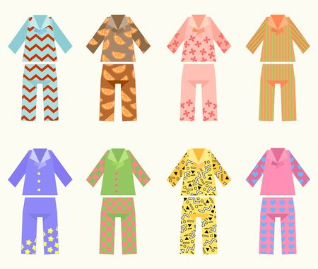 Vector Set Of Pajamas With Colorful And Interesting Prints