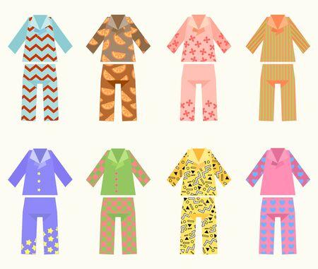 Vektor-Set von Pyjamas mit bunten und interessanten Drucken