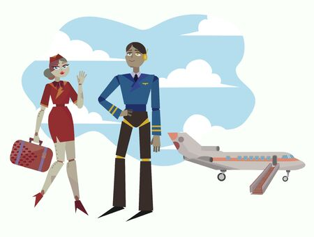 Pilot of the plane and stewardess are preparing for the flight.  Vector illustration of friendly airport android's.