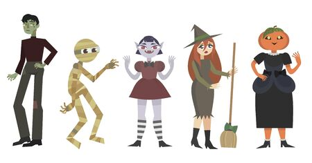 Interesting characters for a Halloween party. Vector illustration