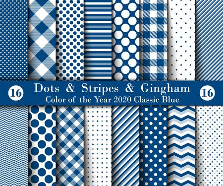 Set of Sixteen Seamless Polka Dots, Gingham, With Large and Small Lines and Diagonal Stripes with Classic Blue Colors. Female Flannel Shirt Patterns. Vector Illustration for Wallpapers.