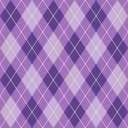Purple and White Seamless Argyle Pattern Vector Background. Can Be Used for Wallpaper, Pattern Fills, Web Page Background, Surface Textures