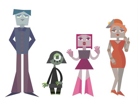 Charismatic family of robots on a white background. Vector illustration