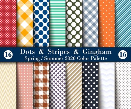 Spring  Summer 2020 Color Palette. Set  Seamless Background Polka Dots, Gingham, With Large and Small Lines and Diagonal Stripes. Vector Illustration for Wallpapers.