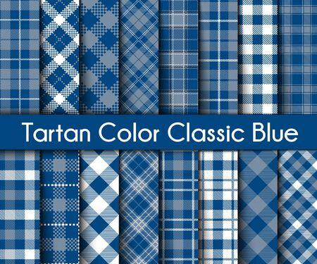 Set  Tartan   Plaid  Seamless Patterns. Trend Color Classic Blue Flannel  Shirt Tartan Patterns. Trendy Tiles Vector Illustration for Wallpapers.