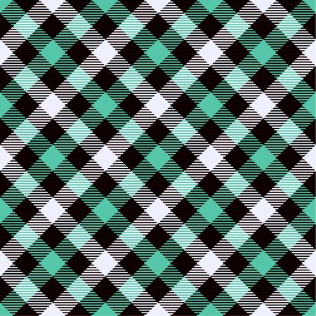 Biscay Green, Black  and  White Tartan  Plaid  Seamless Pattern. Flannel  Shirt Tartan Patterns. Trendy Tiles Vector Illustration for Wallpapers.