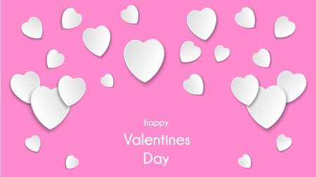 White Hearts on a Pink Background with paper cut hearts and copyspace. Valentine's Day, Mother's Day or Women's Day. Vector Illustration.