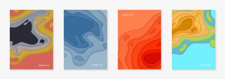Vertical banners set with 3D abstract background and paper cut shapes. Colorful carving art design layout for business presentations, flyers, posters and invitations.  Vector Illustration. 向量圖像