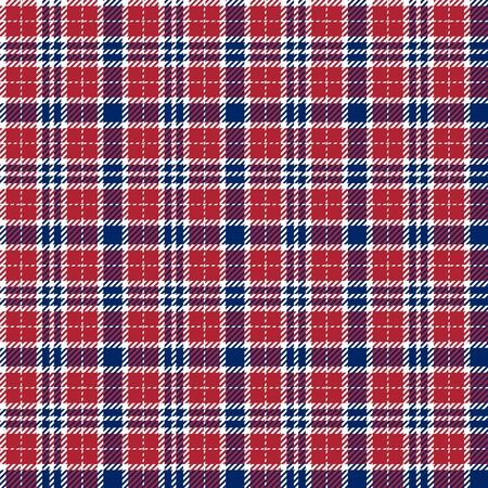 Blue, Red and White of Patriotic Tartan Seamless Patterns. Suitable for Elections or 4th of July. Vector Endless Texture Can Be Used for Wallpaper, Background, Pattern Fills, Web Page, Surface