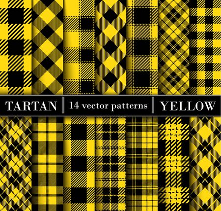 Set  Tartan   Plaid  Seamless Patterns. Trend Color Yellow Flannel  Shirt Tartan Patterns. Trendy Tiles Vector Illustration for Wallpapers. Illustration