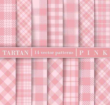 Set Tartan Plaid  Seamless Patterns. Trend Color Pink Flannel  Shirt Tartan Patterns. Trendy Tiles Vector Illustration for Wallpapers. Illustration