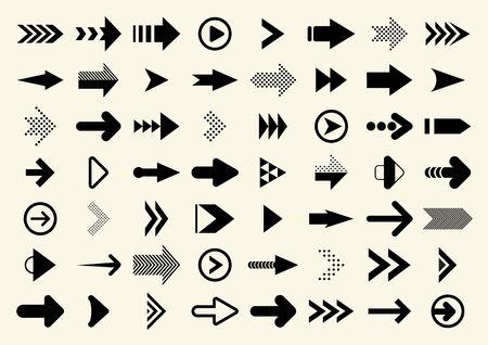 Big Set of Black Vector Arrow.  Arrows Vector Collection. Cursor. Vector Illustration