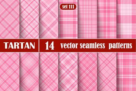 Set Tartan Seamless Pattern. Vector Illustration