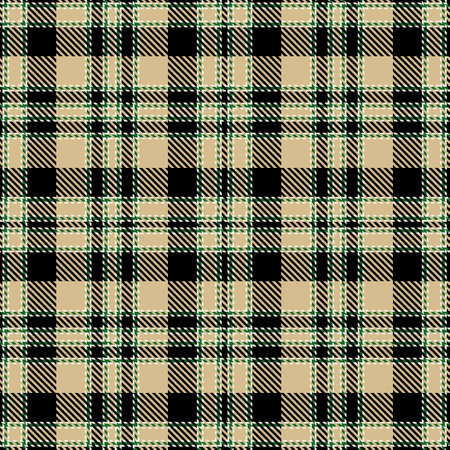 Tartan Seamless Pattern Background in Black, Green, Camel Beige and White Color Plaid. Flannel Shirt Patterns. Trendy Tiles Vector Illustration for Wallpapers.