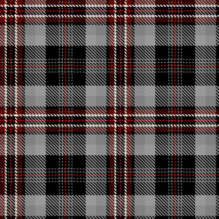 Tartan Seamless Pattern Background in Black, Gray, Red and White Color Plaid. Flannel Shirt Patterns. Trendy Tiles Vector Illustration for Wallpapers. Illustration