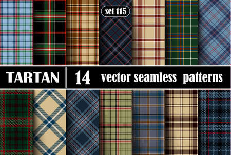 Set Tartan Seamless Pattern. Trendy Illustration for Wallpapers. Tartan Plaid Inspired Background. Suits for Decorative Paper, Fashion Design and House Interior Design. Vector Illustration Illustration