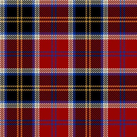 Tartan Seamless Pattern Background in Black, Red, Blue, Gold and White Color Plaid. Flannel Shirt Patterns. Trendy Tiles Vector Illustration for Wallpapers. Illustration