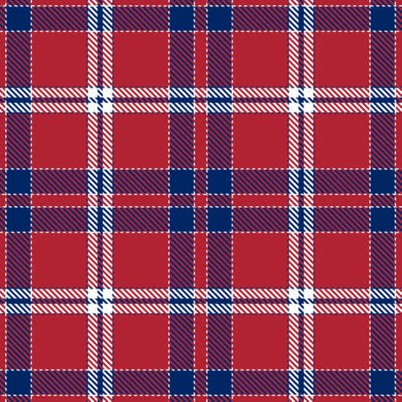 Blue, Red and White of Patriotic Tartan Seamless Patterns. Suitable for Elections or 4th of July. Vector Endless Texture Can Be Used for Wallpaper, Background, Pattern Fills, Web Page, Surface. Illustration