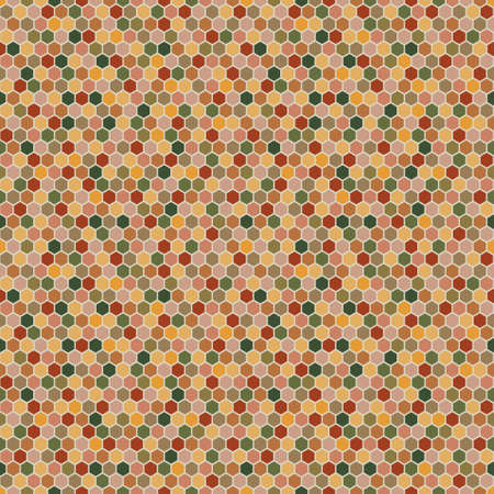 Hexagons seamless pattern in autumn palette. Vector illustration Banque d'images - 154635415
