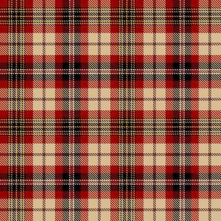 Tartan Seamless Pattern Background in Black, Beige, Red and Gold Color Plaid. Flannel Shirt Patterns. Trendy Tiles Vector Illustration for Wallpapers. Illustration