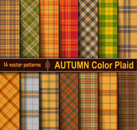 Autumn Set Tartan Seamless Pattern Background. Fall color panel Plaid, Tartan Flannel Shirt Patterns. Trendy Tiles Vector Illustration for Wallpapers.