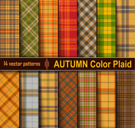 Autumn Set Tartan Seamless Pattern Background. Fall color panel Plaid, Tartan Flannel Shirt Patterns. Trendy Tiles Vector Illustration for Wallpapers.