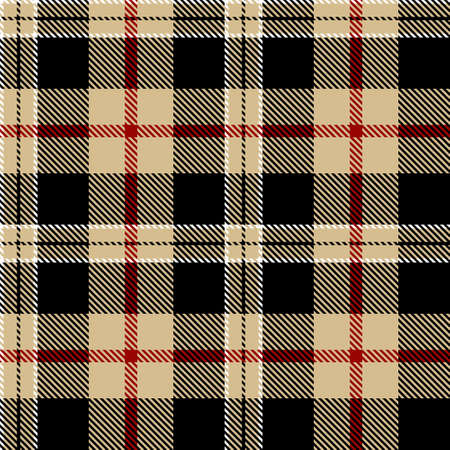 Tartan Seamless Pattern Background in Black, Red, Camel Beige and White Color Plaid. Flannel Shirt Patterns. Trendy Tiles Vector Illustration for Wallpapers. Illustration