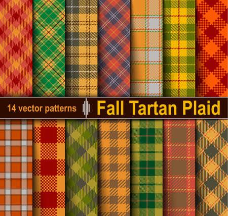 Set Tartan Seamless Pattern Background. Fall color panel Plaid, Tartan Flannel Shirt Patterns. Autumn Trendy Tiles Vector Illustration for Wallpapers. Illustration