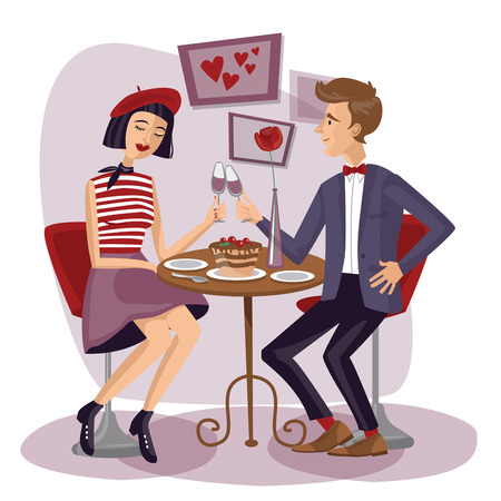 Couple having dinner with wineglasses. Lovers, Man and woman sitting at the table. Cute girl and boy in cafe. Valentines Day. Love card. Save the date. Vector illustration in flat style