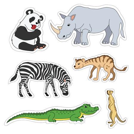 Set of various cute animals, stickers of safari animals. Panda, zebra, alligator, crocodile, gopher, rhinoceros, rhino, hyena.