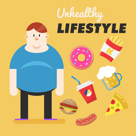 Unhealthy Lifestyle. Concept of unhealthy lifestyle. Fat man and his bad habits Stock Photo