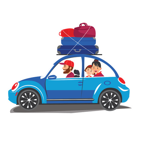 Happy family travel in a car Family traveling by car The family go out of town for a vacation World Travel Summer holiday Tourism and vacation time