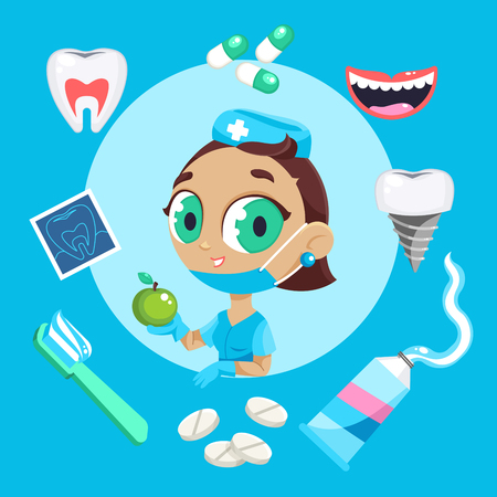 Dental care symbols. Teeth dental care mouth health set with inspection dentist treatment. Dentist with different dental equipment isolated. Profession background vector illustration Stock Photo