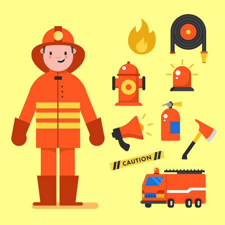 Fireman character design with fireman icons set. Fireman elements for info graphic. Vector illustration. Stock Photo
