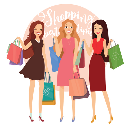 Happy beautiful women with shopping. Three ladys with shopping bags walking on street. Big Sale. Group of young pretty woman with shopping bag enjoy shopping. Vector illustration of a flat design